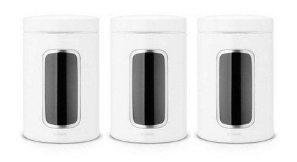 Brabantia Набор контейнеров с окном (1.4 л), белые, 3 шт. 151224 Brabantia brabantia набор контейнеров с окном 1 4 л матовые стальные 3 шт 335341 brabantia