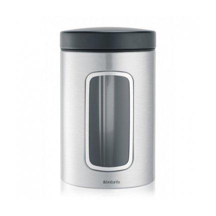 Brabantia Контейнер для сыпучих продуктов с окном (1.4 л), матовый стальной brabantia мусорный бак flipbin 30 л белый