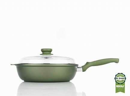 Risoli Литая глубокая сковорода со стеклянной крышкой, 28 см 00105DR/28GS Risoli risoli кастрюля со стеклянной крышкой dr green induction 4 л 24 см 00097drin 24 risoli