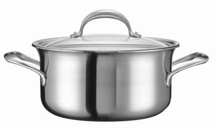 KitchenAid Низкая кастрюля с крышкой (5.68 л), 24 см, 5-ти слойная KC2C60LCST KitchenAid invicta кастрюля с крышкой чугунная 2 5 л 20 см синяя 402209 invicta