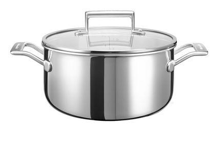 KitchenAid Низкая кастрюля с крышкой (5.68 л), 24 см, 3-х слойная