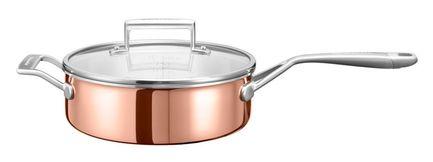 KitchenAid Медный сотейник с крышкой (3.31 л), 24 см, 3-х слойный kitchenaid набор прямоугольных чаш для запекания 0 45 л 2 шт красные