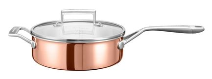 KitchenAid Медный сотейник с крышкой (3.31 л), 24 см, 3-х слойный KC2P35EHCP KitchenAid kitchenaid кастрюля для соуса 1 42 л 16 см 3 х слойная kc2t15ehst kitchenaid