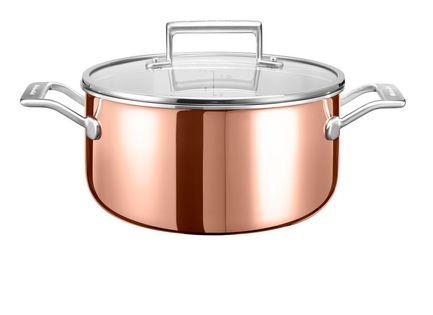 KitchenAid Низкая медная кастрюля с крышкой (5.68 л), 24 см, 3-х слойная KC2P60LCCP KitchenAid цена в Москве и Питере