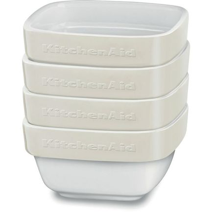 KitchenAid Набор квадратных мини-чаш для запекания (0.22 л), 4 шт., кремовые kitchenaid форма для запекания 26х26 см черная