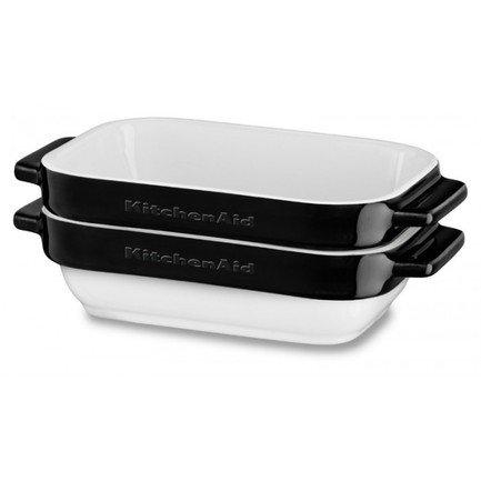 KitchenAid Набор прямоугольных чаш для запекания (0.45 л), 2 шт., черные KBLR02MBOB KitchenAid kitchenaid форма для запекания 26х26 см черная