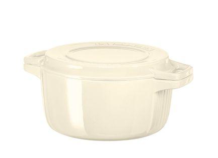 KitchenAid Чугунная кастрюля (5.65 л), 28 см, кремовая kitchenaid набор прямоугольных чаш для запекания 0 45 л 2 шт красные