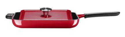 KitchenAid Чугунная квадратная сковорода с прессом, 25х25 см, красная