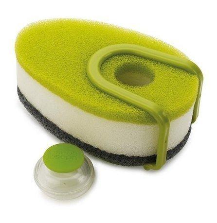 Набор губок с капсулой для моющего стредства Soapy Sponge, 3 шт., 12х4.5х7 см, зелёный от Superposuda
