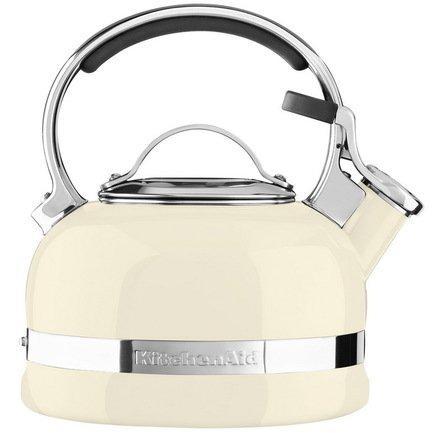 KitchenAid Чайник наплитный (1.89 л), со свистком, бежевый kitchenaid набор прямоугольных чаш для запекания 0 45 л 2 шт красные
