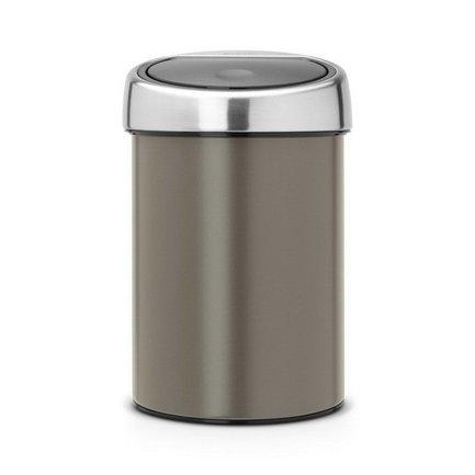 Brabantia Ведро для мусора Touch Bin (3 л), платина 364464 Brabantia ведро для мусора 10 л brabantia touch bin 477225 матовая сталь
