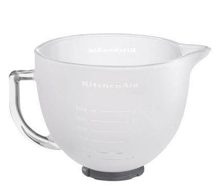 KitchenAid Чаша стеклянная, матовая (4.83 л), съёмная основа, силиконовая крышка kitchenaid набор прямоугольных чаш для запекания 0 45 л 2 шт красные