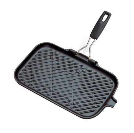 Le Creuset Сковорода-гриль чугунная прямоугольная, 36 x 20 см, черная kitchenaid чугунная квадратная сковорода с прессом 25х25 см кремовая