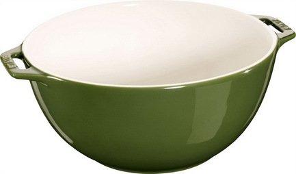 Фото - Staub Миска сервировочная большая (3.2 л), 25 см, зеленый базилик 40510-799 Staub staub форма прямоугольная керамическая 2 4 л 27х20см зеленая 40510 811 staub