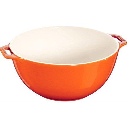 Staub Миска сервировочная большая (3.2 л), 25 см, оранжевая 40511-132 Staub трикси миска керамическая кошка 0 25 л ф 13 см белая