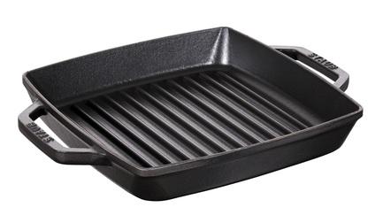 Staub Сковорода-гриль квадратная c 2 ручками, 28х28 см, черная 12012823 Staub сковорода гриль 28х28 см нмп титан 94028g