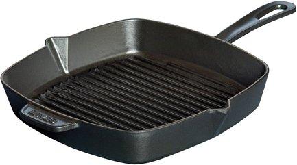 Staub Сковорода-гриль квадратная, чугун, 30х30 см, черная kitchenaid чугунная квадратная сковорода с прессом 25х25 см кремовая