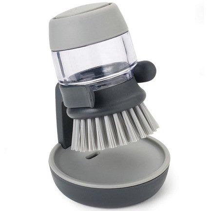 Щетка с дозатором моющего средства Palm Scrub, 8.8х13.5х9.5 см, серая от Superposuda