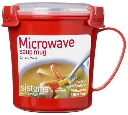 Sistema Кружка суповая Microwave (656 мл), 14.2х11.4х11.9 см, красная 1107 Sistema