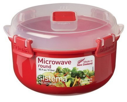 Контейнер круглый Microwave (915 мл), 15.6х9.3 см, красный 1113 Sistema sistema microwave 1141 красный