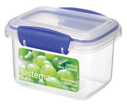 Sistema Контейнер прямоугольный Klip-it (400 мл), 11.5х9х8 см, синий 1540 Sistema бутылка для воды sistema hydrate трио цвет фиолетовый 480 мл 820