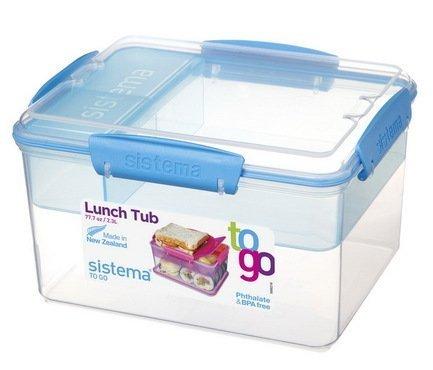 Sistema Контейнер двухуровневый To-go (2.3 л), 19.7х15.8х11.5 см 21665 Sistema контейнер для продуктов sistema to go triple split 2л blue 20920