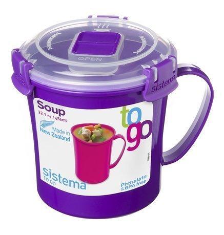 Sistema Кружка суповая To-go (656 мл), 14.2х11.4х11.9 см, цвета в ассортименте sistema солонка и перечница to go 35 мл 6 5х3 4х7 2 см 2 шт