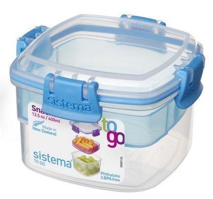 Sistema Контейнер двухуровневый To-go (400 мл), 11.1х11.1х7.2 см 21320 Sistema контейнер для продуктов sistema to go triple split 2л blue 20920
