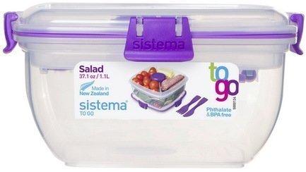 Sistema Контейнер для салата с приборами To-go (1.1 л), 16.7х16.7х8.6 см 21356 Sistema контейнер для продуктов sistema to go triple split 2л blue 20920