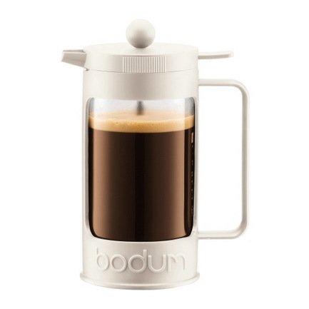 Bodum Кофейник с прессом Bean (0.35 л), 7.8х12.2х16.8 см, белый 11375-913