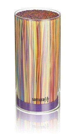 Samura Подставка универсальная для ножей Samura, 22.5 см, акриловая, прозрачная фиолетовая держатель для ножей moulinvilla универсальная подставка для ножей moulinvilla