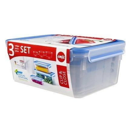 EMSA Набор пластиковых контейнеров с крышкой Clip&Close 508567, 3 шт. набор контейнеров 2шт clip