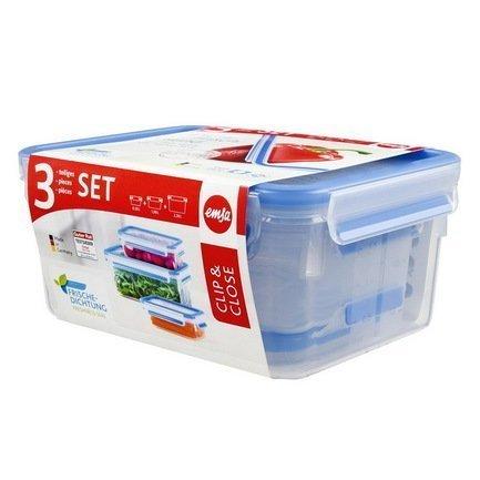 EMSA Набор пластиковых контейнеров с крышкой Clip&Close 508566, 3 шт emsa clip