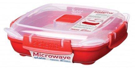 Sistema Контейнер Microwave низкий (440 мл), 16.7х4.7 см, красный 1104 Sistema контейнер для продуктов sistema to go triple split 2л blue 20920