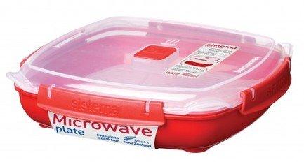 контейнер для еды sistema круглый контейнер для продуктов sistema 1 5л Sistema Контейнер Microwaveнизкий (1.3 л), 23.8х5.9 см, красный