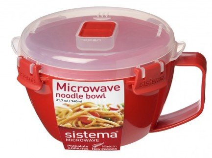 Sistema Кружка Microwave для лапши (940 мл), 17.2х15.6х9.7 см, красная 1109 Sistema