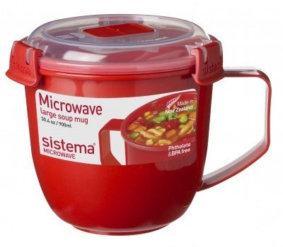 Sistema Кружка суповая Microwave (900 мл), 13х12.5 см, красная 1141 Sistema
