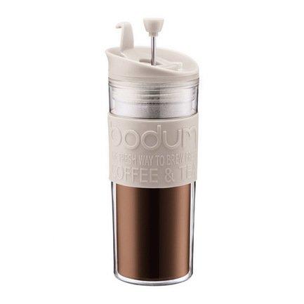 Bodum Кофейник с прессом Travel (0.35 л), 8.5x8.5x20.1 см, белый