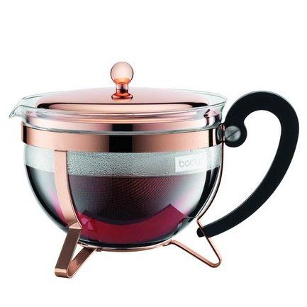 Bodum Чайник заварочный с фильтром Chambord (1.3 л), медь 11656-18 Bodum чайник заварочный bekker koch с фильтром цвет красный 1 25 л