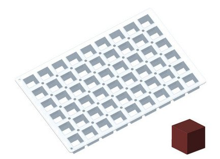 De Buyer Силиконовая форма MoulFlex Pro, кубики, 54 ячейки (91 мл), 4.5х4.5х4.5 см, 60х40 см (1715.90)
