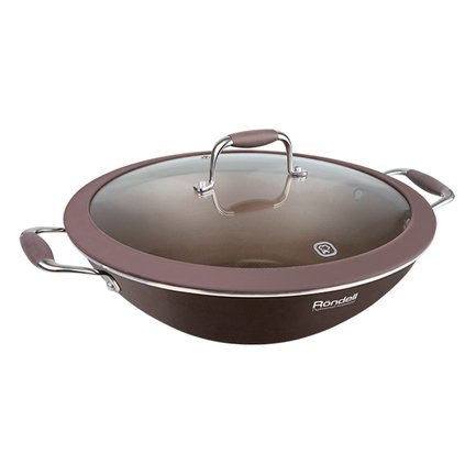 Rondell Вок Mocco, 32 см, с крышкой, кофейно-коричневый RDA-552 Rondell сковорода wok rondell mocco d 32 см rda 552