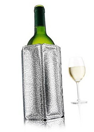 VacuVin Охладительная рубашка Wine Cooler для бутылок вина объемом 0.75 л, серебристая сумка термос igloo wine tote 16 teal zebra для 2 бутылок вина или газированных напитков