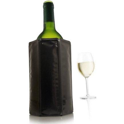 VacuVin Охладительная рубашка Wine Cooler для бутылок вина объемом 0.75 л, черная сумка термос igloo wine tote 16 teal zebra для 2 бутылок вина или газированных напитков