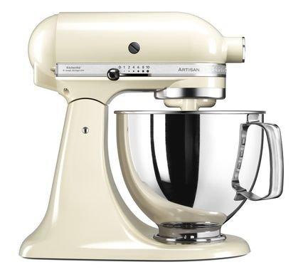 KitchenAid Миксер планетарный Artisan (4.8 л), 3 насадки, кремовый 5KSM125EAC KitchenAid kitchenaid набор круглых чаш для запекания смешивания 1 4 л 1 9 л 2 8 л 3 шт кремовые