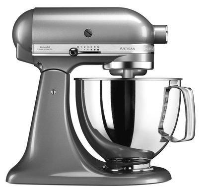KitchenAid Миксер планетарный Artisan (4.8 л), 3 насадки, серебристый по контуру kitchenaid набор круглых чаш для запекания смешивания 1 4 л 1 9 л 2 8 л 3 шт кремовые
