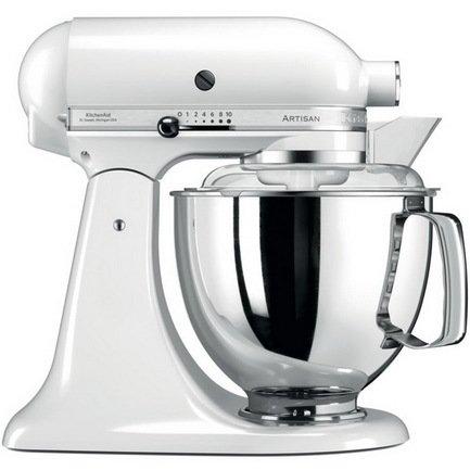 KitchenAid Миксер планетарный Artisan (4.8 л), белый kitchenaid набор круглых чаш для запекания смешивания 1 4 л 1 9 л 2 8 л 3 шт кремовые