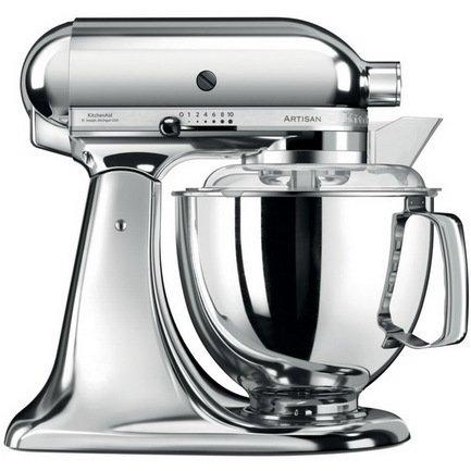 KitchenAid Миксер планетарный Artisan (4.8 л), хром kitchenaid набор круглых чаш для запекания смешивания 1 4 л 1 9 л 2 8 л 3 шт кремовые