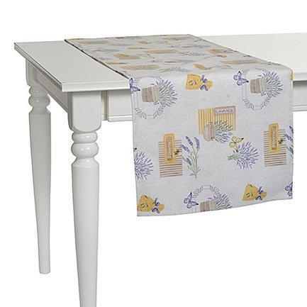 "Apolena Дорожка на стол с рисунком ""Lavander flowers"", 40х140 см, полухлопок, желтая P515-8681/1"