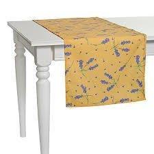 "Apolena Дорожка на стол с рисунком ""Lavander flowers"", 40х140 см, полухлопок, желтая P515-8680/1"