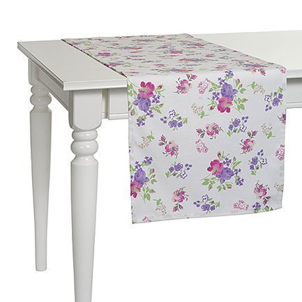 "Apolena Дорожка на стол с рисунком ""Purple Garden"", 40х140 см, полухлопок, серая P515-8672/4"